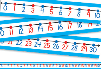 "Student Number Line: 30/Pk 22 x 1-1/2 Numbers 0-30, 22"" x 1.5\"""