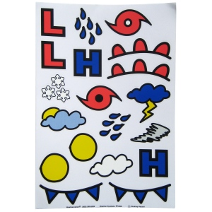 Scott Resources & Hubbard Scientific Large Static Cling Weather Symbol: Set of 19