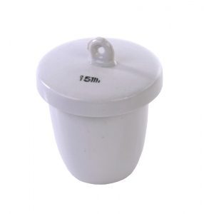 Porcelain Crucible with Lid: High Form, 32 mm Diameter x 20 mm Capacity