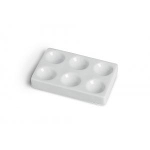 Porcelain Spot Plates: 6 Dep Holes, 85 mm L x 54 mm W x 11 mm H