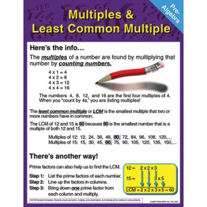 Multiples & Least Common Multiple Chart-Let: Pre-Algebra by Carson Dellosa