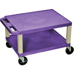 "Luxor Tuffy AV Cart 2 Shelves Putty Legs: Purple, 16"" H"