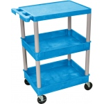 Luxor Flat Top and Tub Middle/Bottom Shelf Cart: Blue with Gray Legs