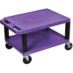 "Luxor Tuffy AV Cart 2 Shelves Black Legs: Purple, 16"" H"