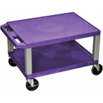 "Luxor Tuffy AV Cart 2 Shelves Nickel Legs: Purple, 16"" H"
