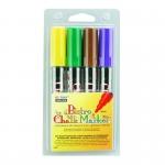 Bistro Chalk Markers Brd Tip 4 Clr Set Brown Green Yellow Violet